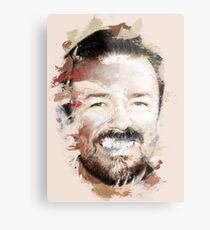 Paint-Stroked Portrait of Actor and Comedian, Ricky Gervais Metal Print