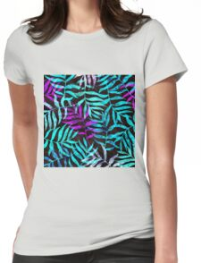 Watercolor Tropical Palm Leaves Womens Fitted T-Shirt
