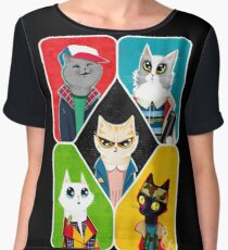 Stranger Cats Chiffon Top