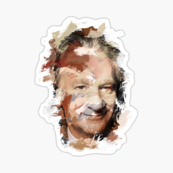 Paint-Stroked Portrait of TV Host and Activist, Bill Maher Sticker