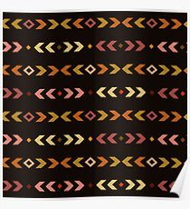 Simple  boho brown pattern. Tribal seamless background. Geometric Wallpaper. Poster