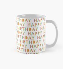 Happy birthday seamless pattern. Colorful  holiday background. Mug