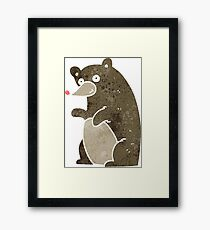 retro cartoon bear Framed Print