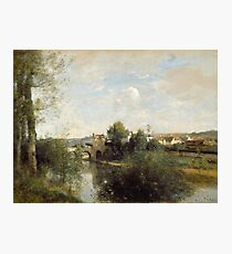 Camille Corot - Seine And Old Bridge At Limay Photographic Print