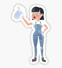 retro cartoon woman with beer Sticker