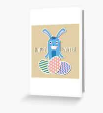 Easter bunny with holiday eggs Greeting Card