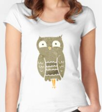 retro cartoon owl Women's Fitted Scoop T-Shirt