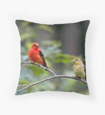 Mr & Mrs Scarlet Tanager Throw Pillow