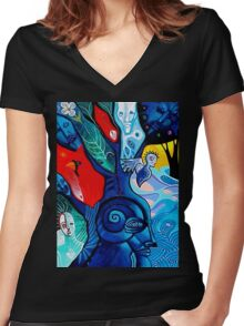 cardinal and little blue tree Women's Fitted V-Neck T-Shirt