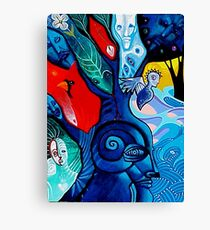 cardinal and little blue tree Canvas Print