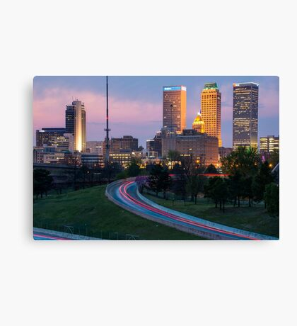 Downtown Tulsa Skyline on the Freeway  Canvas Print