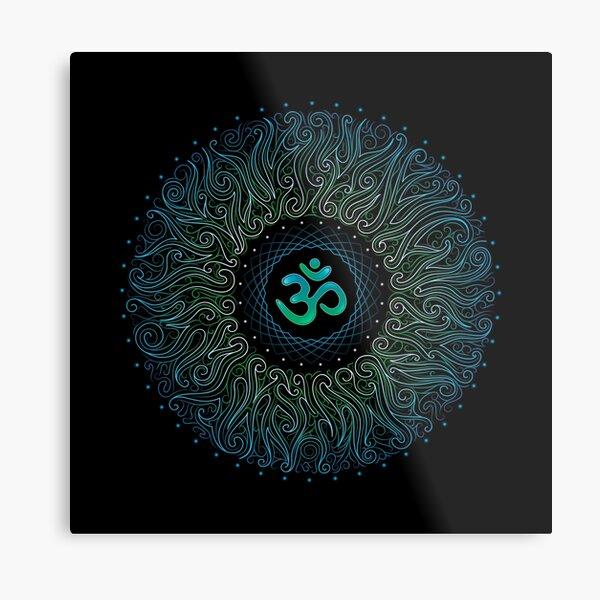 Pranava Yoga. Shanti Om. Mandala Metal Print