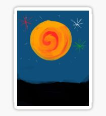 Sun Moonlight in the night with stars Sticker