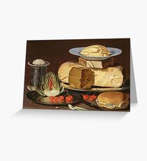 Clara Peeters - Still Life With Cheeses, Artichoke, And Cherries Greeting Card