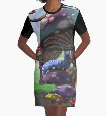 Caterpillar in the Wonderland Toadstool Forest Graphic T-Shirt Dress
