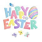 Happy Easter in fun colourful letters with and Easter egg, butterfly and stars, watercolour. by Sandra O'Connor