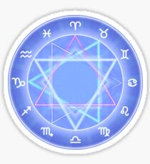 Zodiac circle, glowing Zodiac signs set on dark blue Sticker