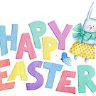 Happy Easter in fun colourful letters with an Easter bunny and butterfly  by Sandra O'Connor