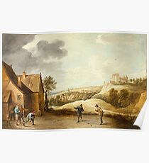 David Teniers The Younger - Landscape With Peasants Playing Bowls Outside An Inn Poster