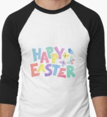 Happy Easter in fun colourful letters with butterflies watercolour painting. Men's Baseball ¾ T-Shirt