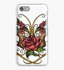 Two Guns and Rose flowers Drawn in  Tattoo Style iPhone Case/Skin