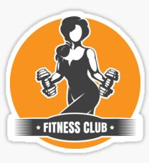 Fitness Club Logo with Training Athletic Woman Sticker