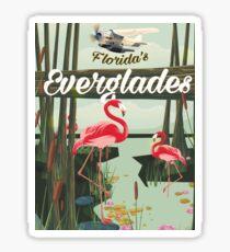 Florida Everglades cartoon travel poster  Sticker