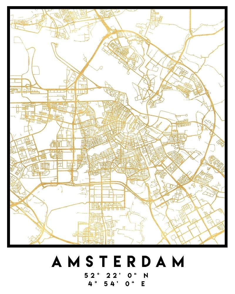 Amsterdam netherlands city street map art by deificusart redbubble amsterdam netherlands city street map art publicscrutiny Images
