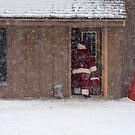 Santa Sneaking Away by rosaliemcm