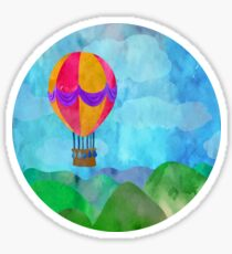 Lanscape with hot air balloon.  Sticker