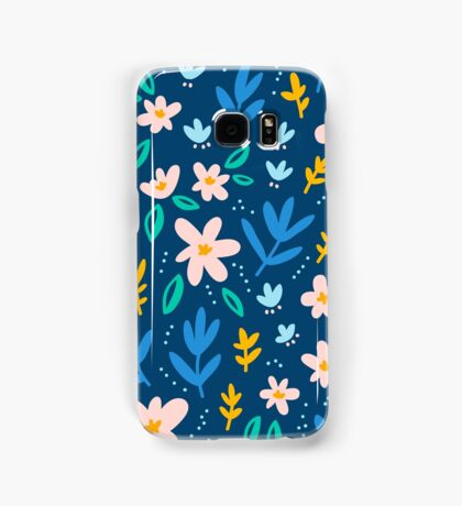 Colorful flowers on deep blue background  Samsung Galaxy Case/Skin