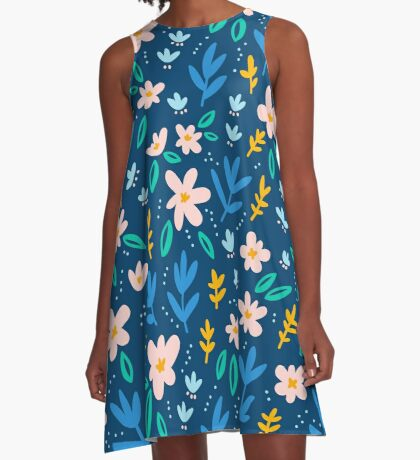 Colorful flowers on deep blue background  A-Line Dress