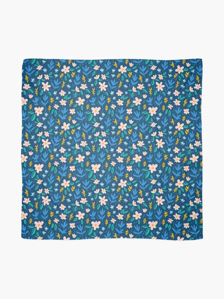 Alternate view of Colorful flowers on deep blue background  Scarf
