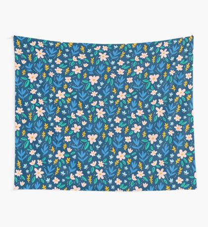 Colorful flowers on deep blue background  Wall Tapestry