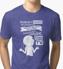Rick and Morty Schwifty Wubba Lubba Fair Use Nobody Exists on Purpose Tri-blend T-Shirt