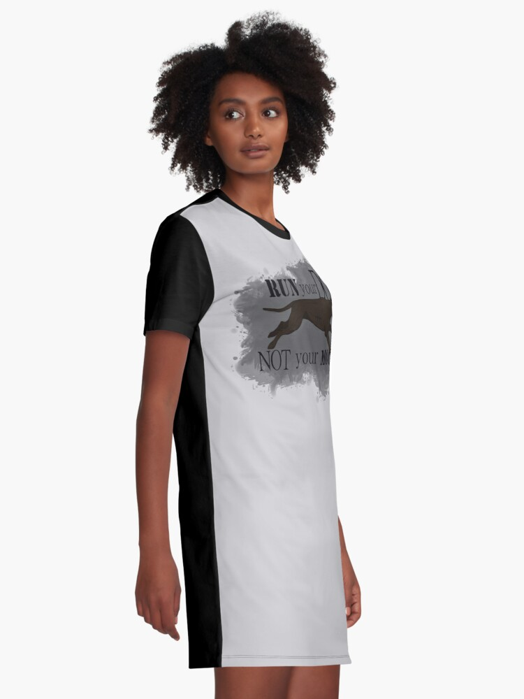 Alternate view of Run Your Dog Not Your Mouth American Pit Bull Terrier Dark Chocolate Graphic T-Shirt Dress