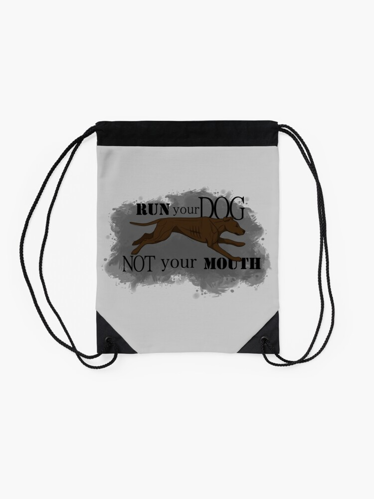 Alternate view of Run Your Dog Not Your Mouth American Pit Bull Terrier Chocolate Drawstring Bag