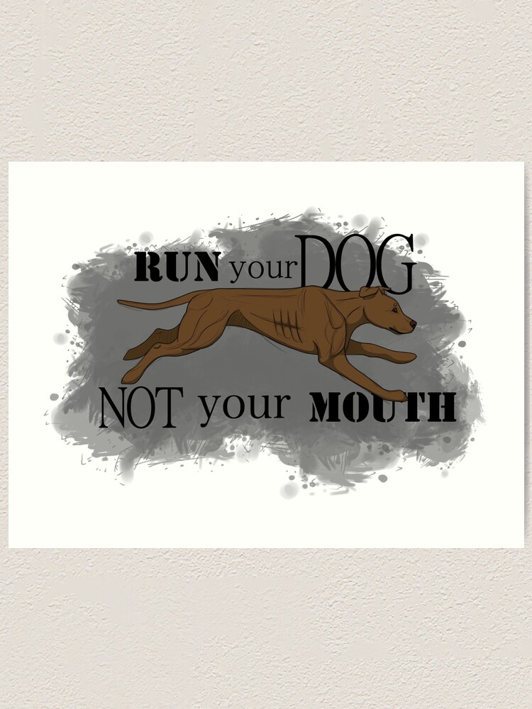 Alternate view of Run Your Dog Not Your Mouth American Pit Bull Terrier Rust Art Print