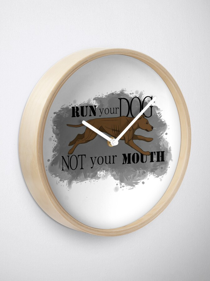 Alternate view of Run Your Dog Not Your Mouth American Pit Bull Terrier Rust Clock