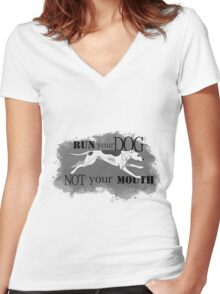 Run Your Dog Not Your Mouth American Pit Bull Terrier White and Grey Women's Fitted V-Neck T-Shirt