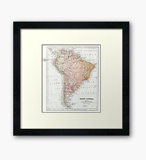 Vintage Map of South America Framed Print