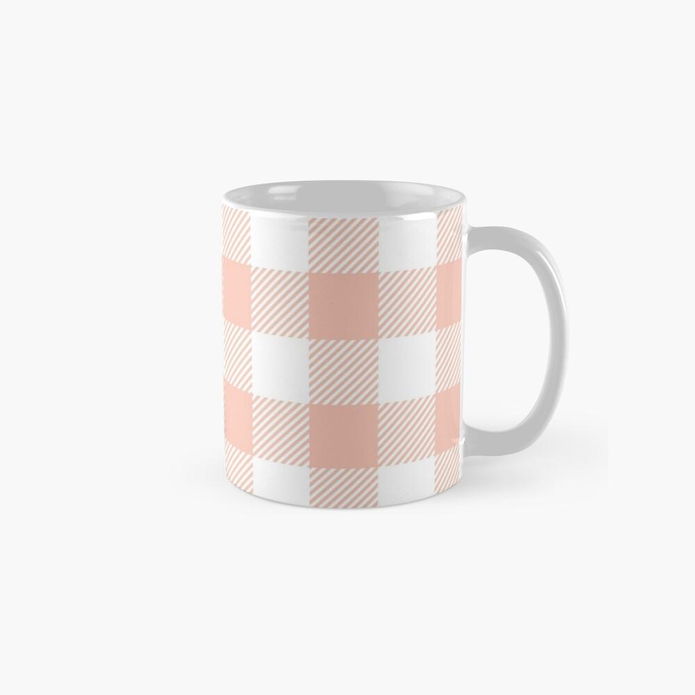 Apricot / Apricot Plaid Pattern Mugs