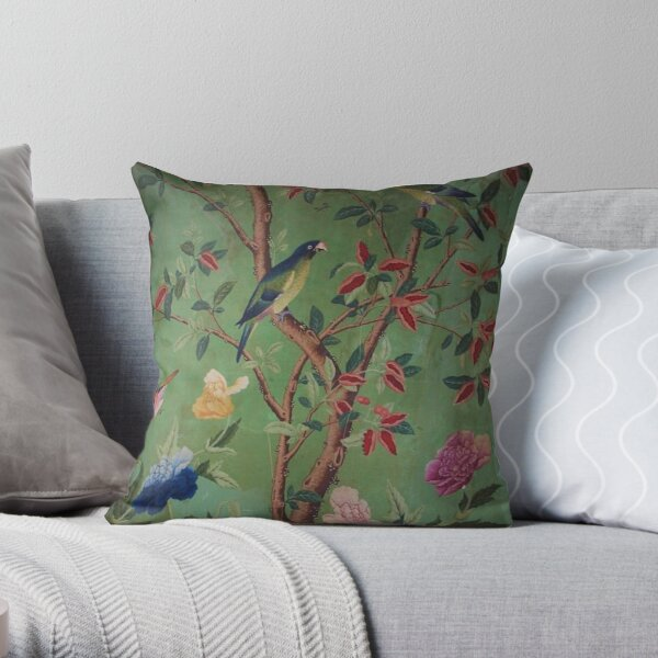 Green Dream Chinoiserie Throw Pillow