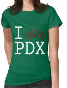 I heart PDX (white text) Womens Fitted T-Shirt