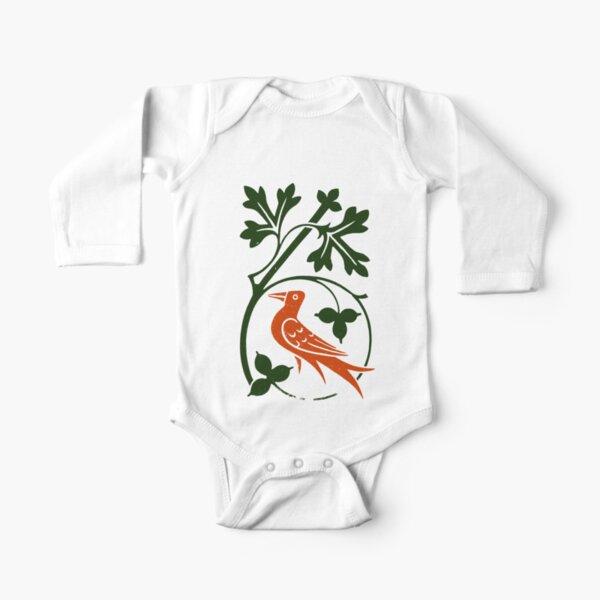 Woodcut birds Long Sleeve Baby One-Piece