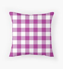 Bright Purple / Dark Magenta Plaid Pattern Throw Pillow