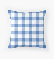 Bright Blue / Brilliant Azure Plaid Pattern Throw Pillow