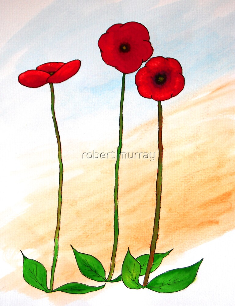 Three Red Poppies by robert murray