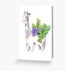 Giraffe pot with succulents Greeting Card