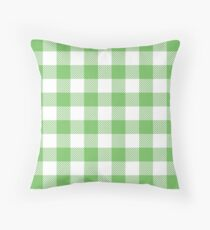 Green / Mantis Plaid Pattern Throw Pillow